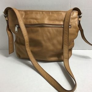 Fossil tan distressed leather crossbody bag
